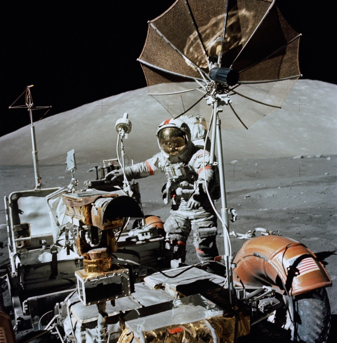 Gene Cernan on the Moon with lunar rover, December 1972. Photo taken by Apollo 17 LMP Jack Schmitt.