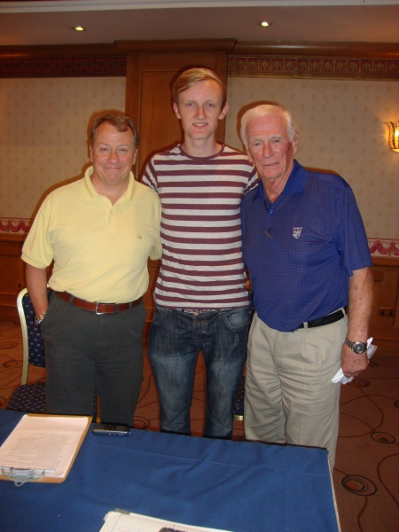 (l-r) Larry McGlynn (Co-executive producer), Shane Hannon (author), Captain Gene Cernan. Birmingham, UK - September 2013.