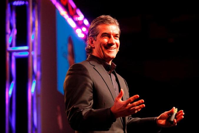 Joel Manby, CEO and President of SeaWorld Parks and Entertainment, delivers a keynote address at IAAPA 2015 in November in Orlando, FL.